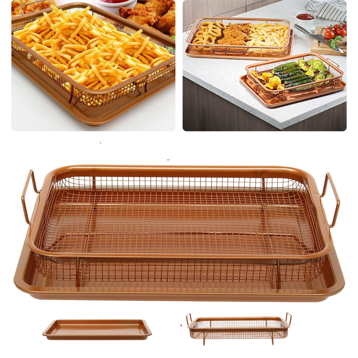 BBQ Picnic Stainless Steel Oven Grill Healthier Cook Bacon Drip Rack Tray With Pan фото