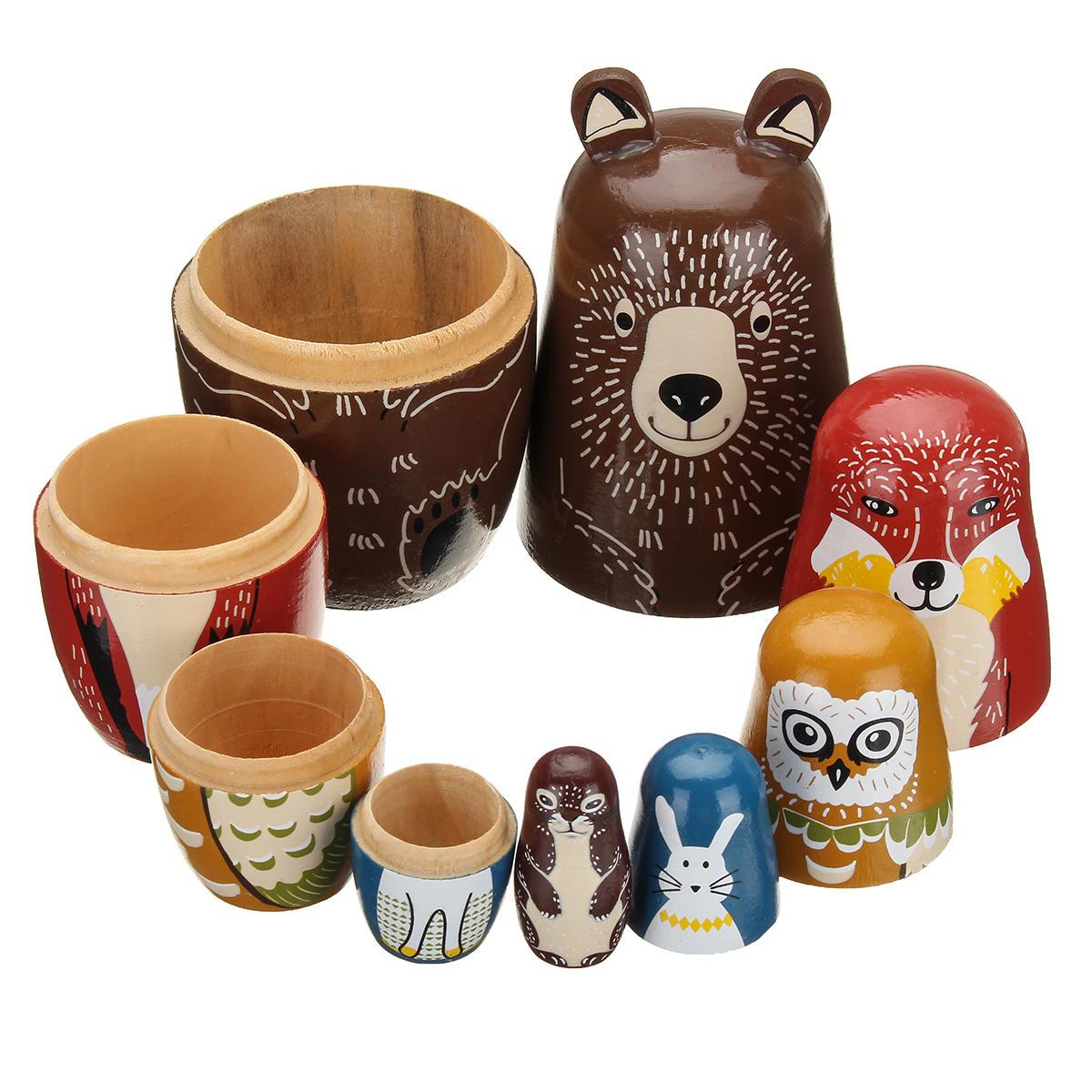 5 Nesting Dolls Wooden Aniimal Bear Russian Doll Matryoshka Toy Decor Kid Gift
