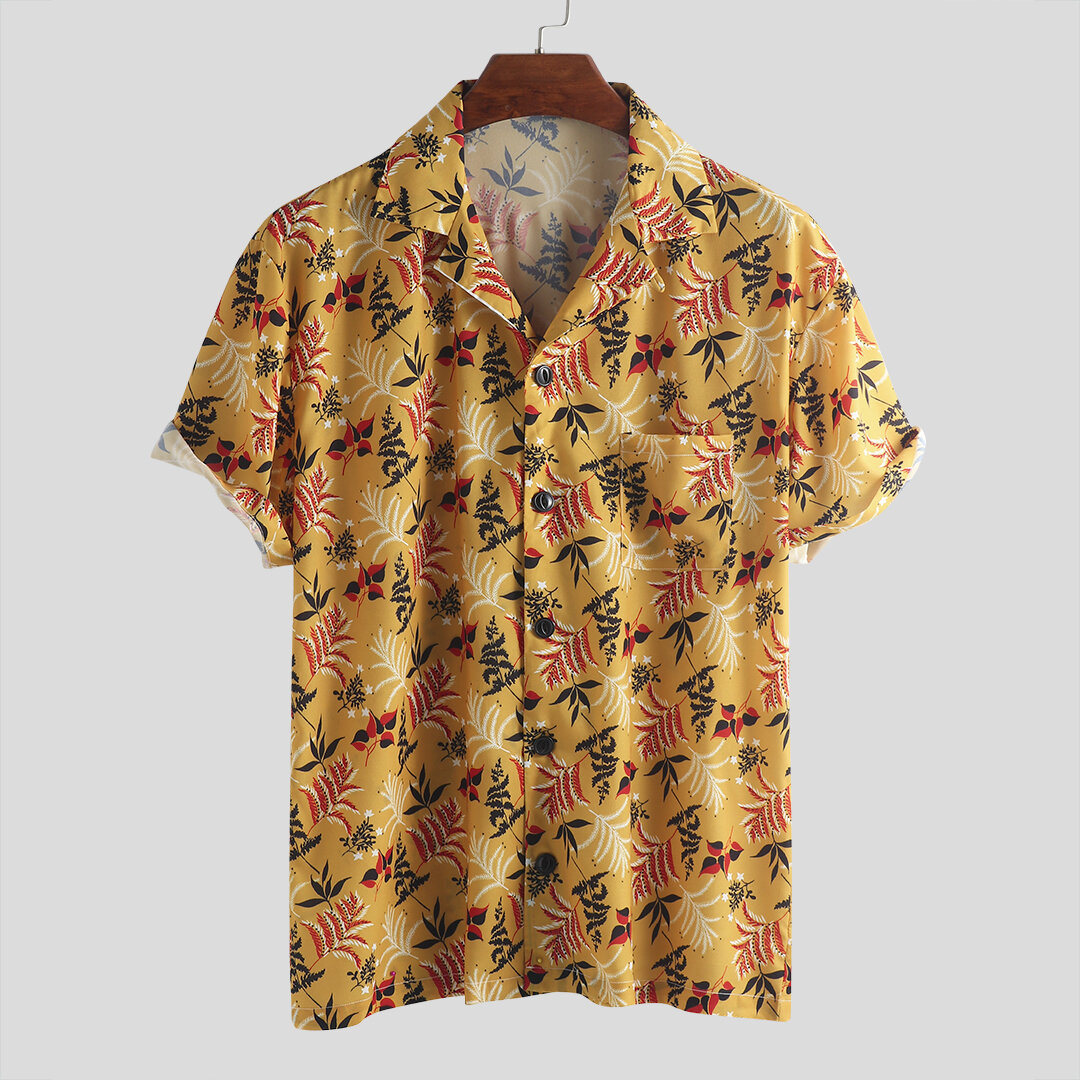 Mens Summer Vacation Casual Loose Floral Printing Hawaiian Shirts
