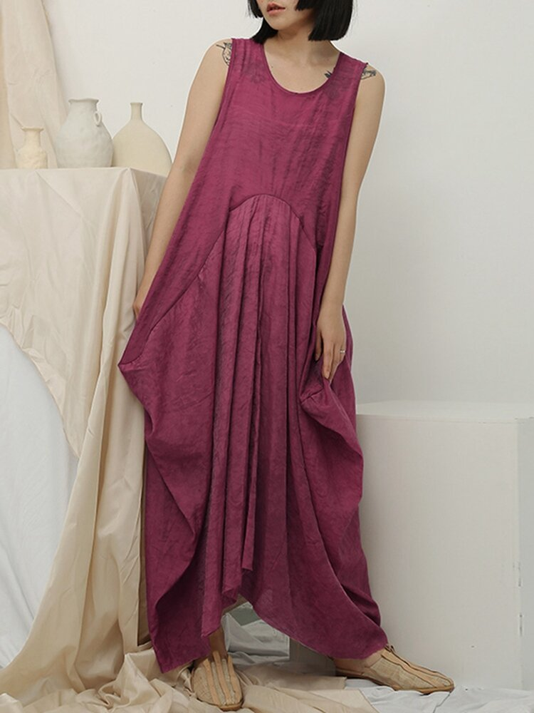 Casual Loose Crew Neck Side Pocket Sleeveless Maxi Dress фото