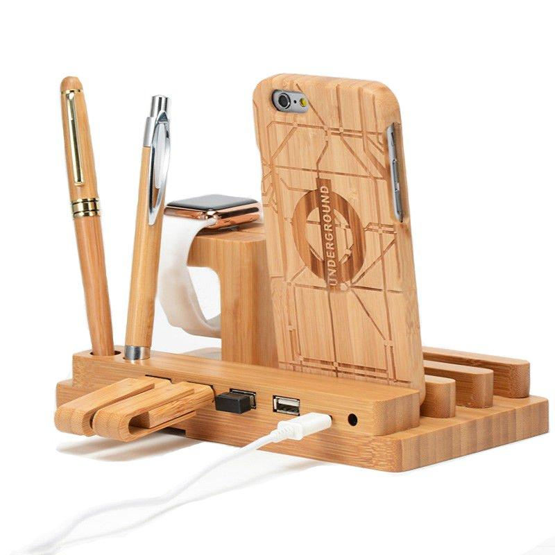 Bamboo Wood 4 Port USB Charging Dock Station Stand Holder para teléfonos inteligentes / Tablet / iPhone / iPad / Apple Watch