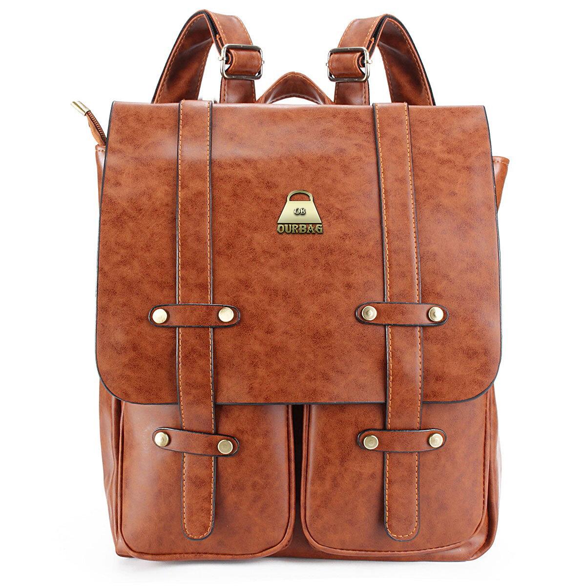 Women Rivet Backpack Vintage School Outdoor Travel Bags