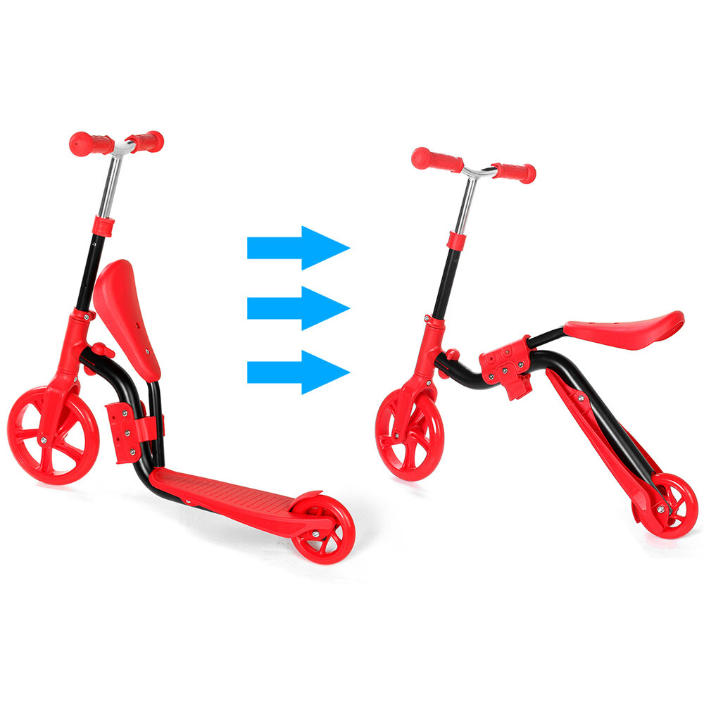 2 In 1 2 Wheels Kids Scooter Adjustable Seat Junior Walker Baby Balance Bike Toddler Bicycle for Balance Sports Training for 2 6 Years Old