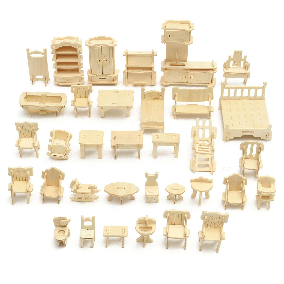 DIY Mini 34pcs/set Kids Educational Doll House Accessories Furniture 3d Woodcraft Puzzle Model Kit Handmade Toys