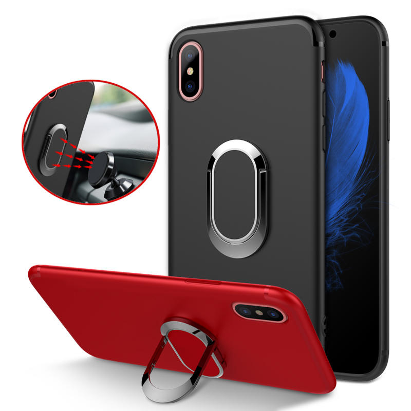 the latest 00c8a e2fff Bakeey Protective Case for iPhone XS Max 360° Adjustable Metal Ring Grip  Kickstand TPU Back Cover