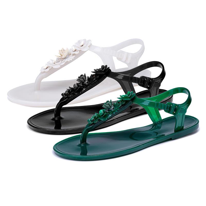 343d19d0c Women's Summer Jelly Flowers Thong Sandals Beach Toe Flip Flops Flats Shoes