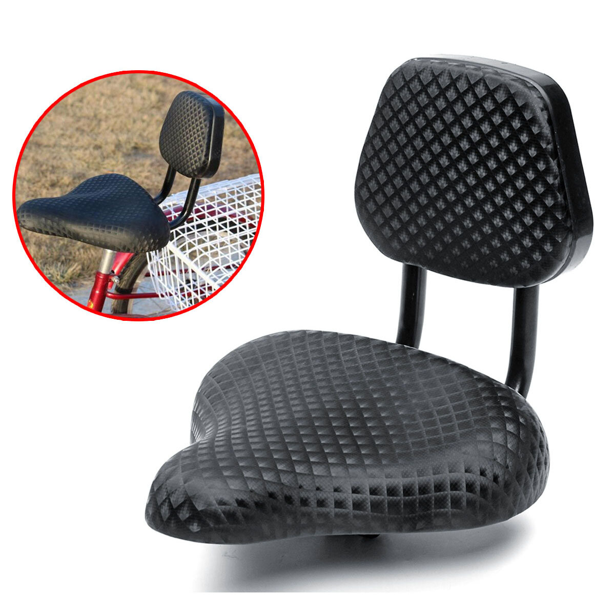 BIKIGHT AU Adult Bicycle Tricycle Seat Child Cycling Bike Seat Cushion Back Saddle With Rest Support фото