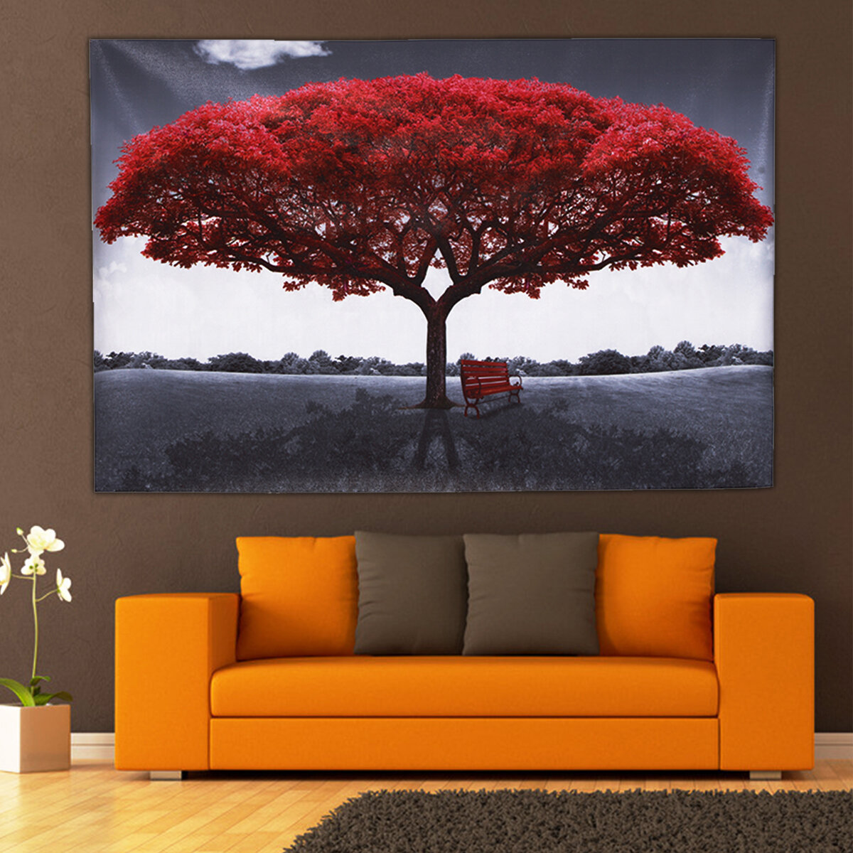JAPANESE GARDEN RED TREE CANVAS PICTURE PRINT WALL ART HOME DECOR FREE DELIVERY