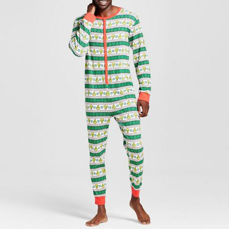 Mens Christmas Pajamas.Mens Christmas Striped Pinting Sleepwear Jumpsuit Pajamas Set