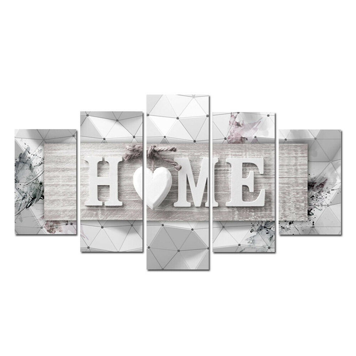 5Pcs Canvas Print Paintings Love HOME Wall Decorative Art Pictures Frameless Wall Hanging Decoration for Home Office