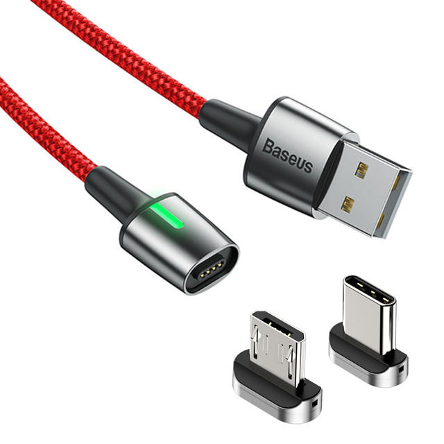 Baseus Zinc Alloy Braided Magnetic Micro Type-C USB 3A 2.4A Fast Charging Data Cable for Samsung Xiaomi Huawei