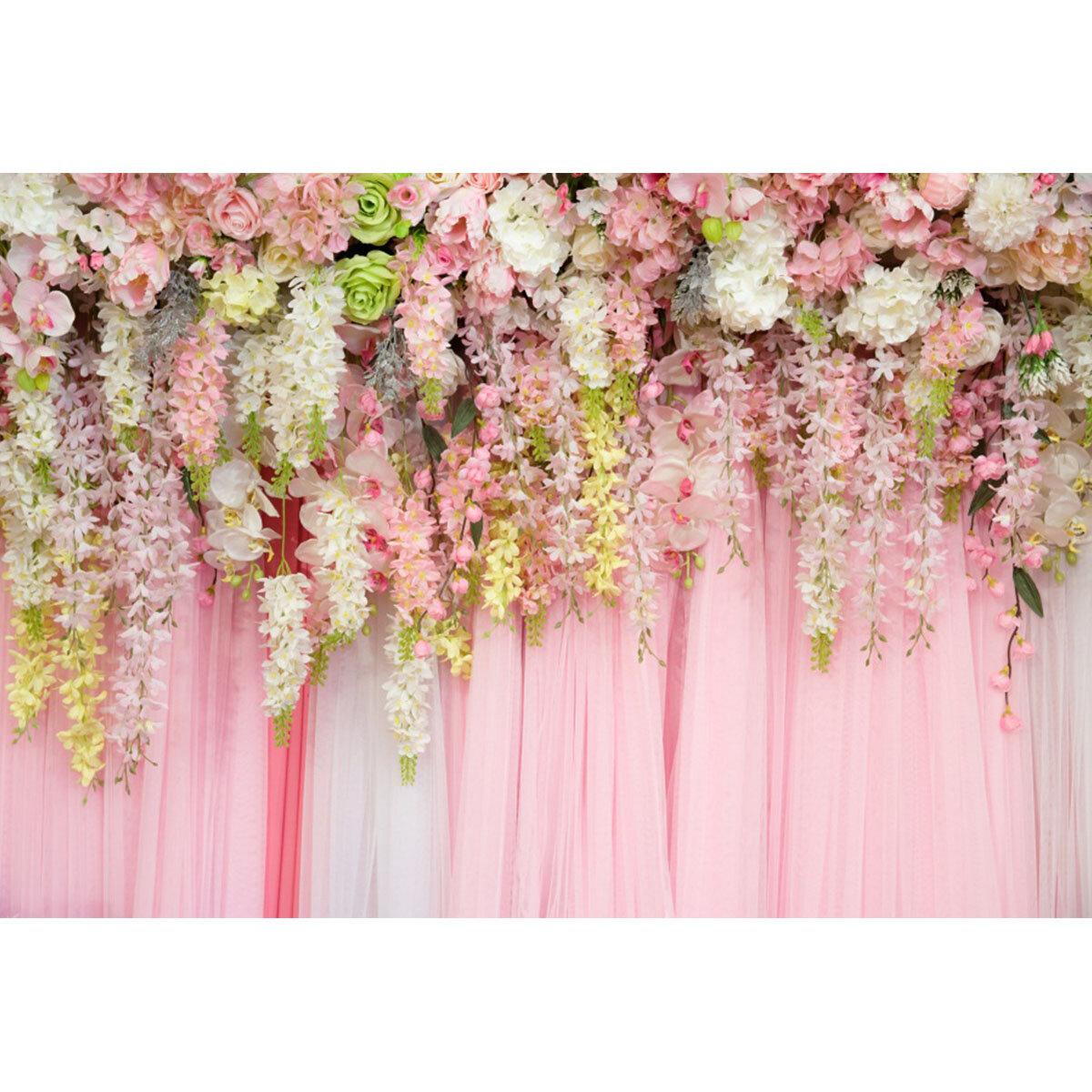 210x150cm 150x90cm Розовый Цветок Свадебное Партия Блестящий фон фотографии Ткань Фонов Фото реквизит