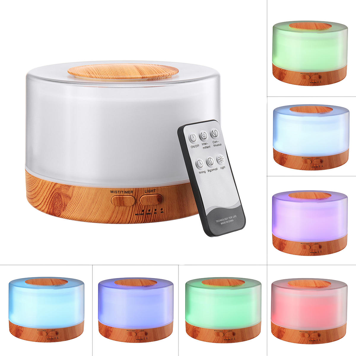 700 ML Aromaterapi Minyak Esensial Diffuser Humidifier Remote Control Humidifier 7 Warna Lampu LED