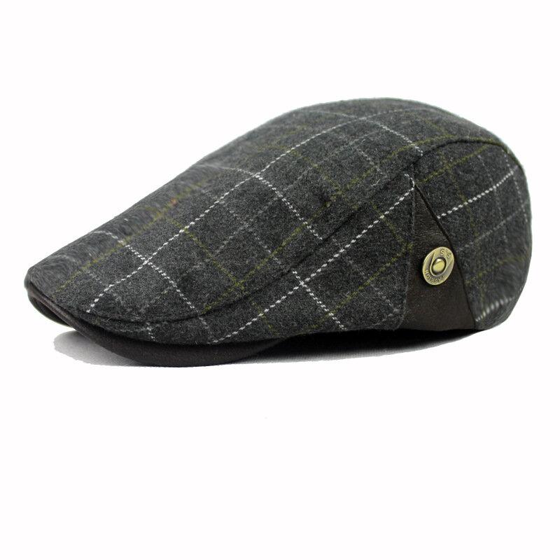 Men Male Wool Blend Newsboy Beret Cap Grid Blank Thick Flat Cowboy Cabbie Hat