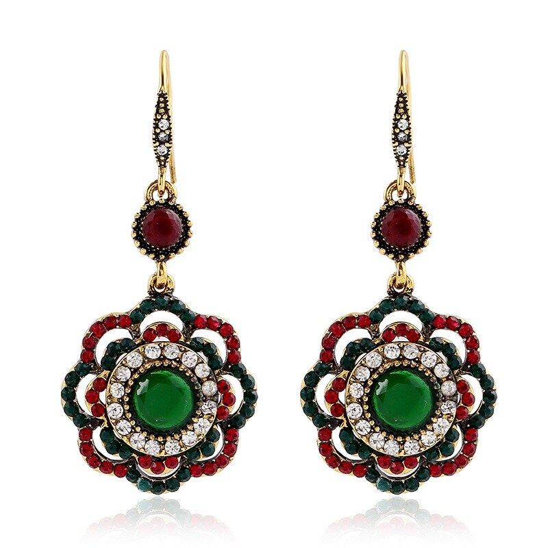 Bohemian Diamond Flower Ear Drop Ethnic Style Rhinestone Ear Drop Earring For Women