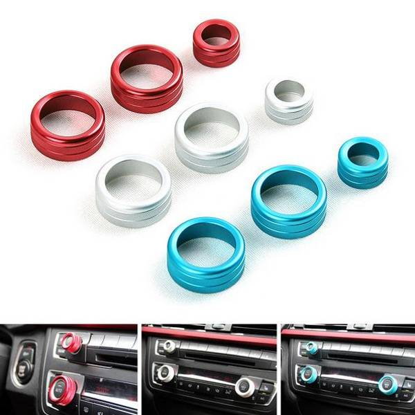 3pcs/set Car Alu Decorative Covers Stereo A/C Knob Circles Knob Ring for BMW 5 6 7 series 5series GT, Banggood  - buy with discount