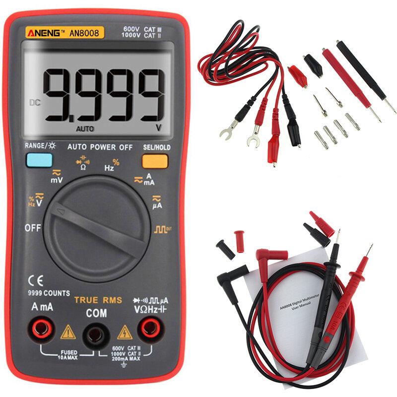 ANENG AN8008 Sant RMS Wave Output Digital Multimeter 9999 Räknar Bakgrundsbelysning AC DC Strömspänningsresistans Frekvens Kapacitans Kvadratvåg Utgång