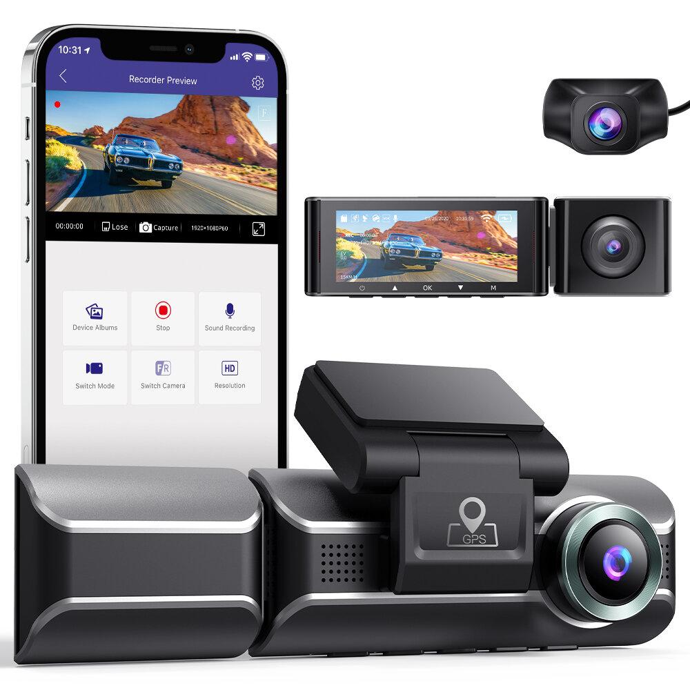 AZDOMEM550ダッシュカム3チャンネルフロントインサイドリア2K + 1080P + 1080PカーダッシュボードカメラレコーダーナイトビジョンDVR内蔵WiFiGPS、32GBカード