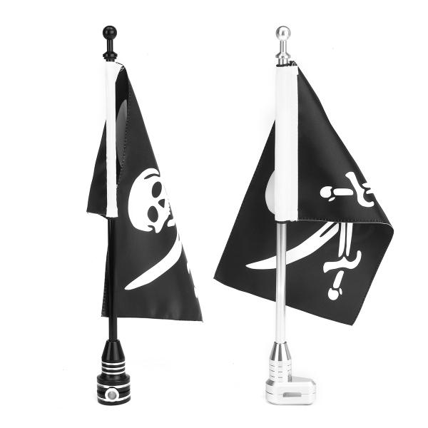 Motorcycle Rear Side Jolly Roger Flag Pole Mount For Luggage Rack Harley Black Silver