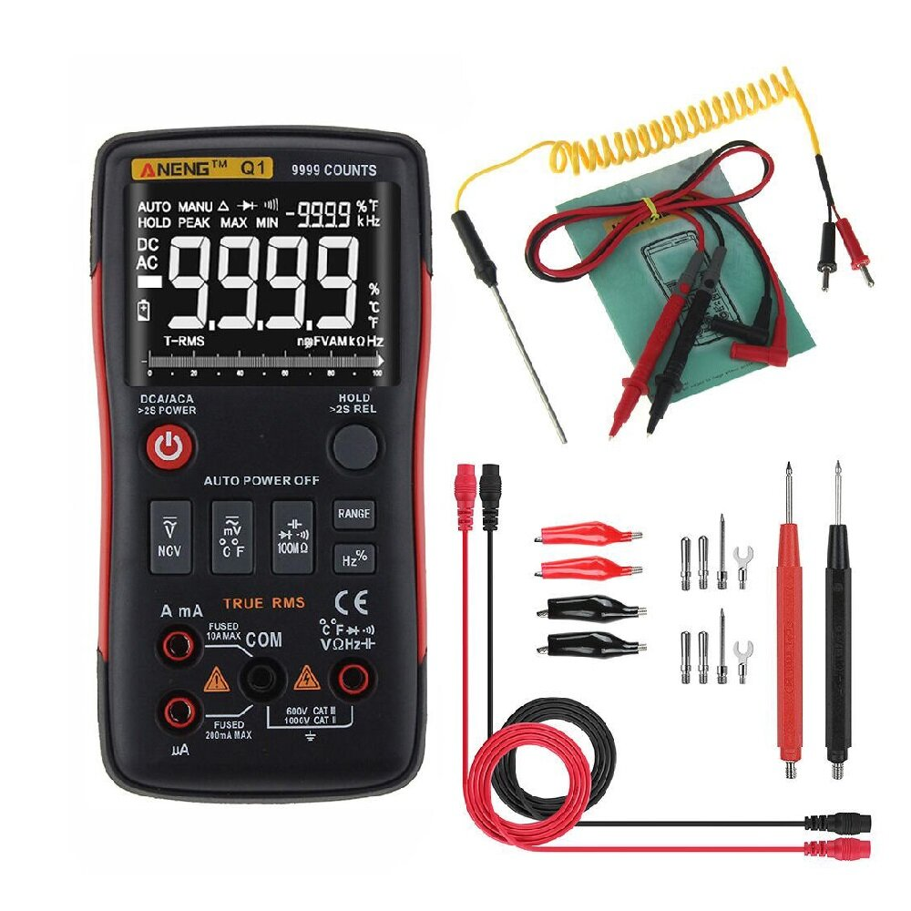 ANENG Q1 9999 Counts True RMS Digital Multimeter AC DC Voltage Current  Resistance Capacitance Temperature Tester Auto/Manual Raging with Analog  Bar