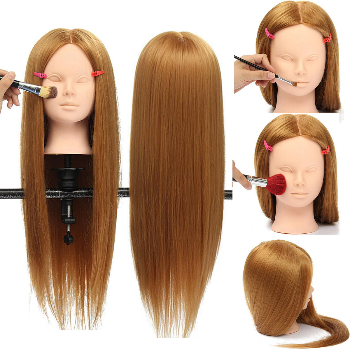 "26"" Long Hair Training Mannequin Head Model Hairdressing Makeup Practice with Clamp Holder"