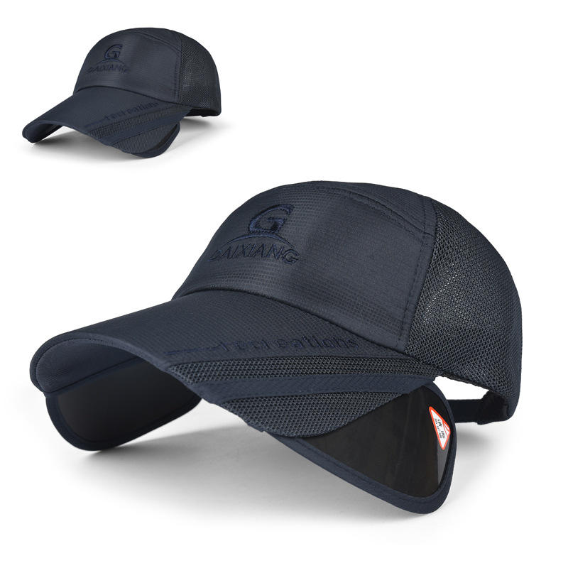 Unisex Men Women Polyester Mesh Wide Brim Baseball Cap Adjustable Breathable Outdoor Hat