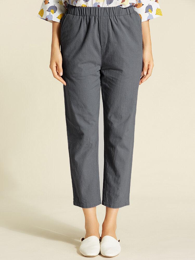 S-5XL Casual Women Pure Color Cotton Pants