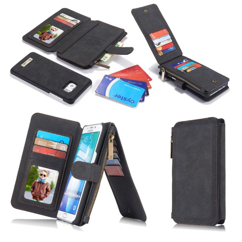 online store 51dce 9bd71 CaseMe Vintage Leather Multifunctional Detachable Zipper Wallet Case For  Samsung Galaxy S6 Edge