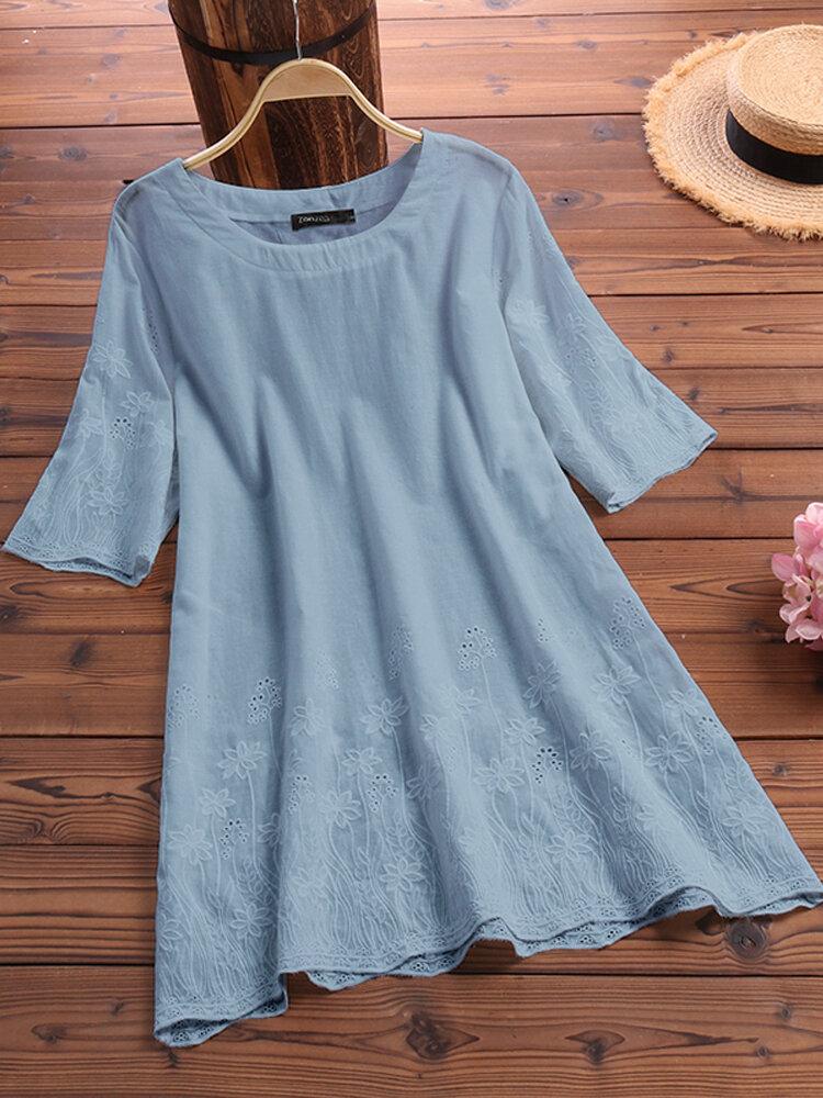 Women Half Sleeve O-neck Lace Hollow Cotton Blouse