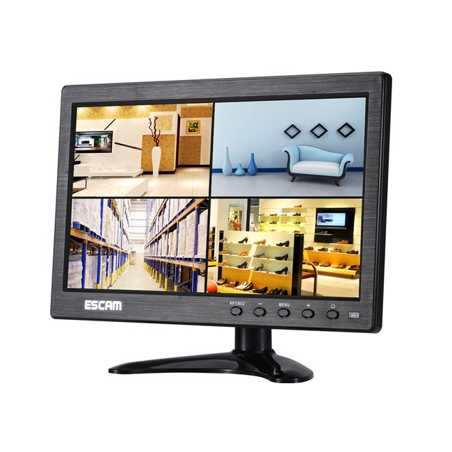 ESCAM T10 10 pulgadas TFT LCD 1024x600 Monitor con VGA HDMI AV BNC USB para PC Cámara de seguridad CCTV