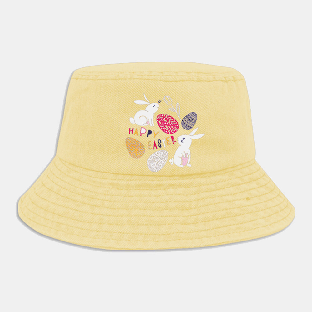 Women Cotton Rabbit Colored Eggs Pattern Printed Happy Easter Cartoon Cute Young 360 Degree Sunshade Bucket Hat