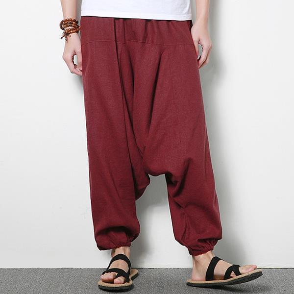 पुरुषों की कॉटन लिनेन हैरम पैंट कैजुअल बैगी लूज ट्राउजर्स फैशन वाइड लेग ट्राउजर्स