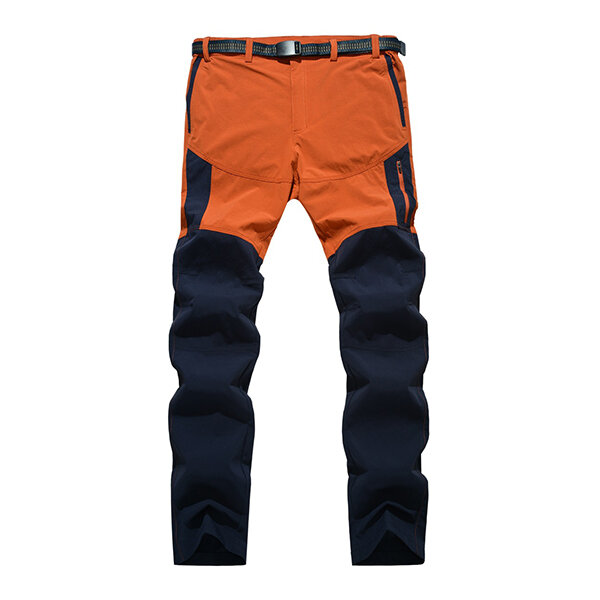 Mens Outdooors Quick Drying SporT-pants Waterproof Spell Color Climbing Pants