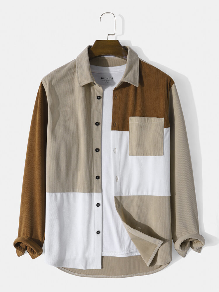 Mens Corduroy Casual Patchwork Pocket Buttons Shirts
