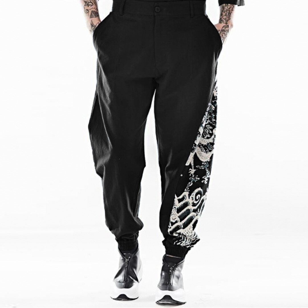 6c9e0c8477 Mens Chinese Style Totem Printed Cotton Plus Size Vintage Trendy Harem Pants