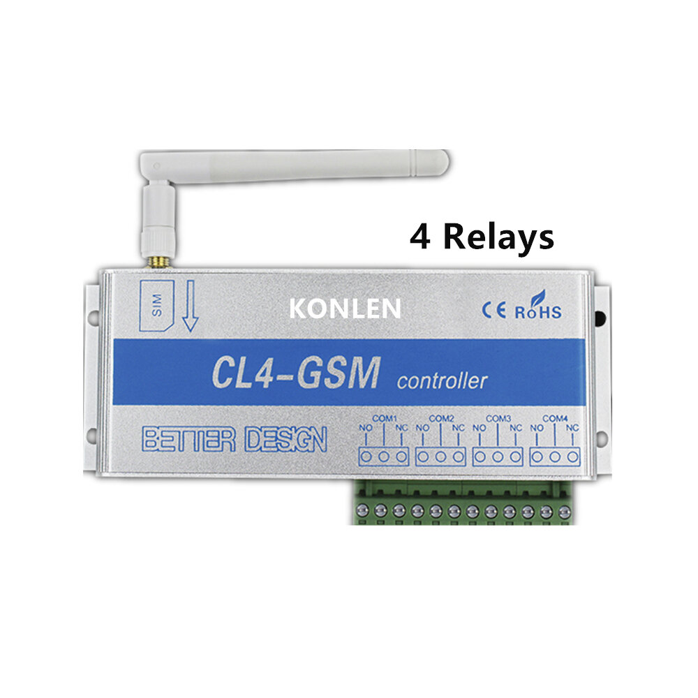 4 Relay of GSM Controller SMS Call Remote Control Switch ON OFF Garage Door Gate Opener Light Curtain Motor Pump Home Automation