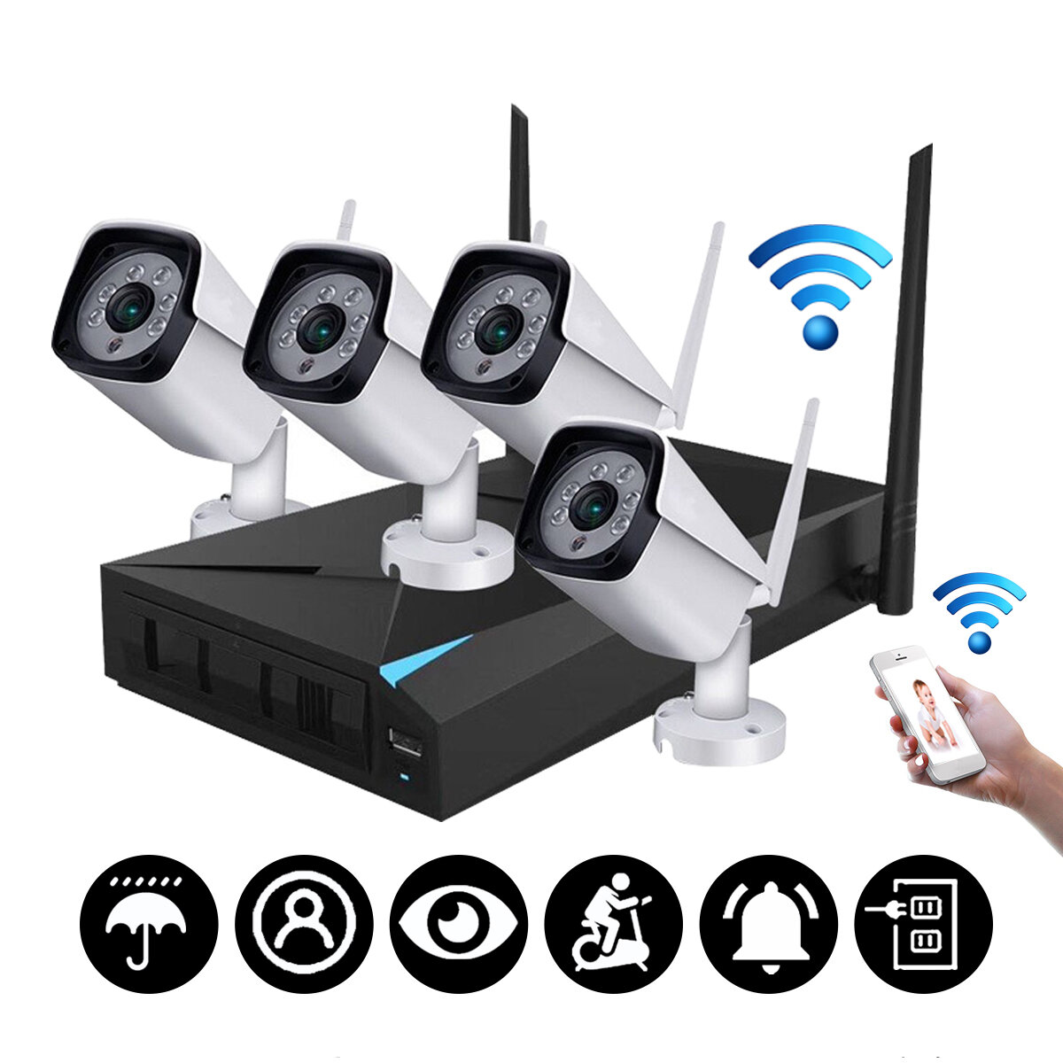 4CH Wireless Wi-Fi 1080P IP Camera HDMI NVR Outdoor Home Security IR CCTV Camera System