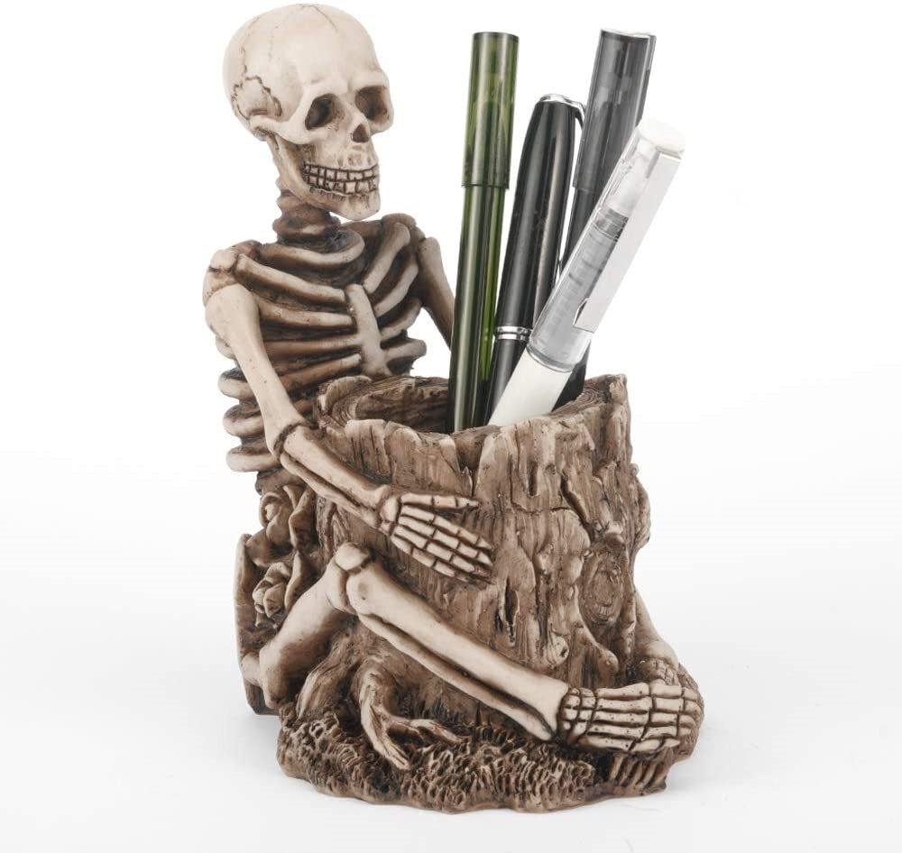 1pc Resin Skull Pen Holder Retro Skeleton Makeup Brush Funny Halloween Pen Pencil Holder Organizer Supplies for Home Off