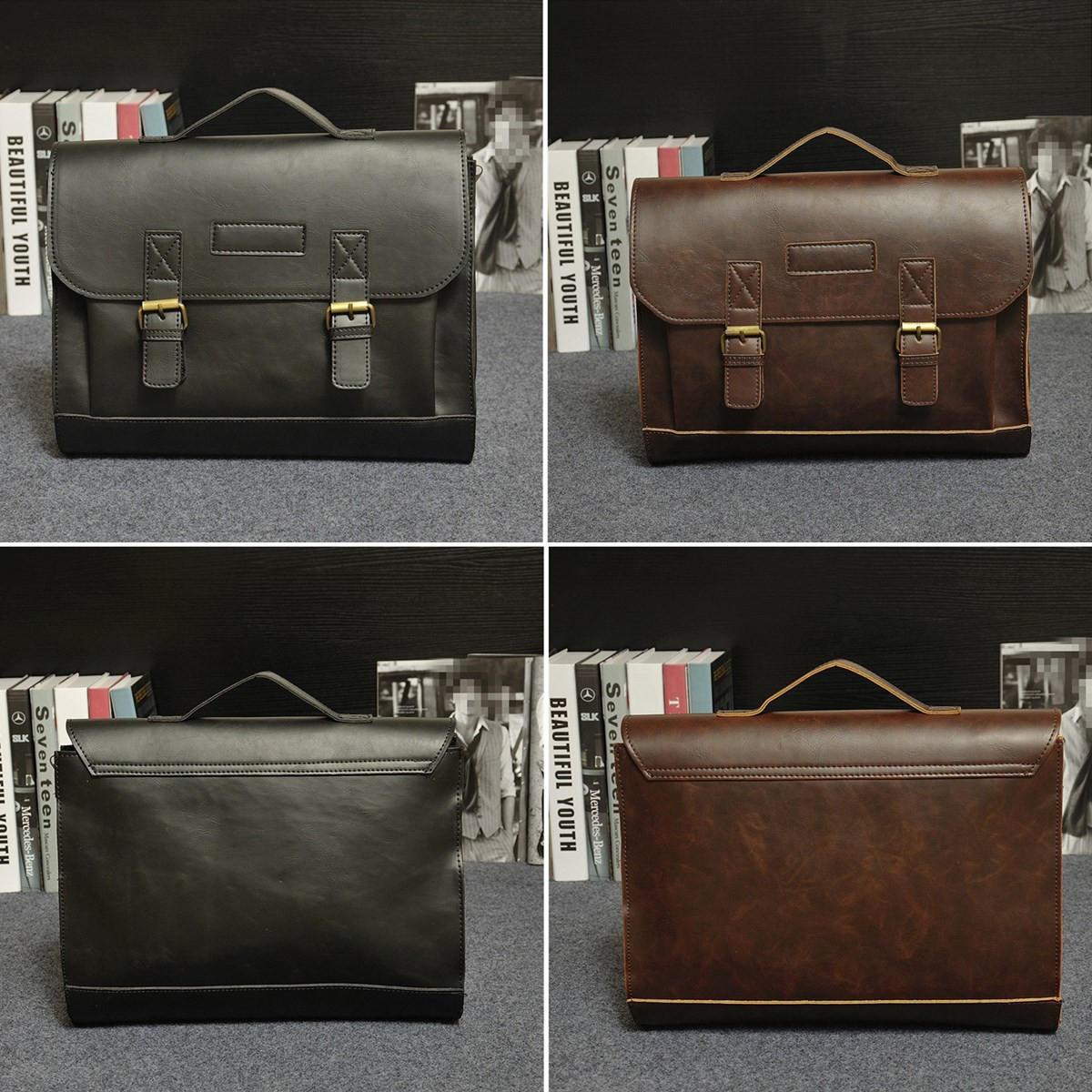 レトロメンズバッグPUレザーメンズハンドバッグカジュアルビジネスラップトップバッグメッセンジャーバッグオフィスバッグ
