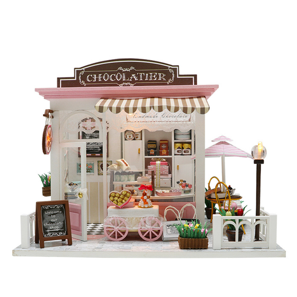 Doll House Kit DIY Miniature Wooden Handmade House Cake Shop Kids Craft Toys