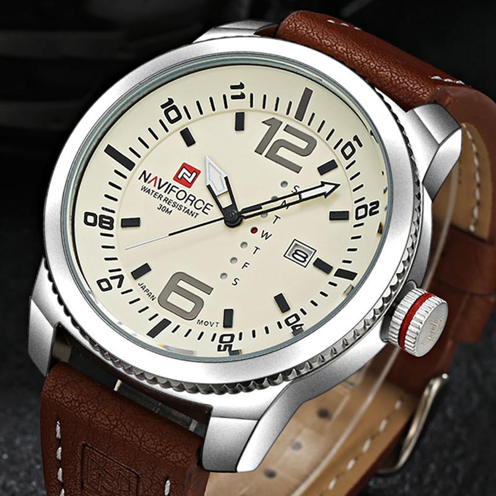 NAVIFORCE 9063 Simple Design Men Jam Tangan Date Display Kulit Strap Kuarsa Menontones