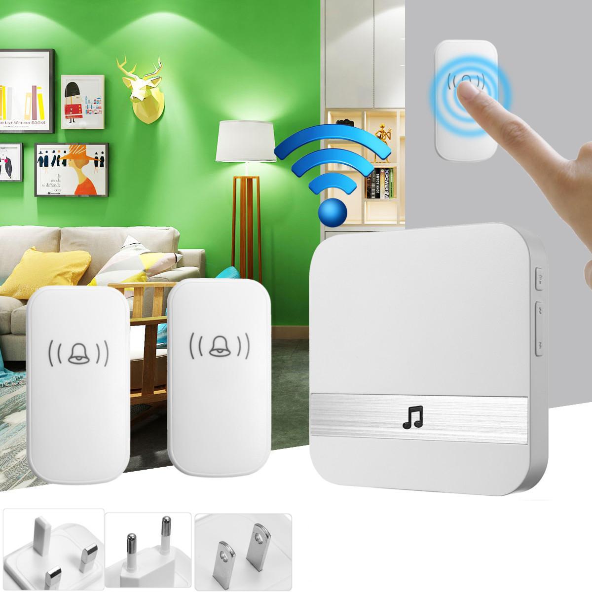300M Waterproof LED Wireless Doorbell 52 Songs Chime Door Bell SOS EU/US/UK Plug