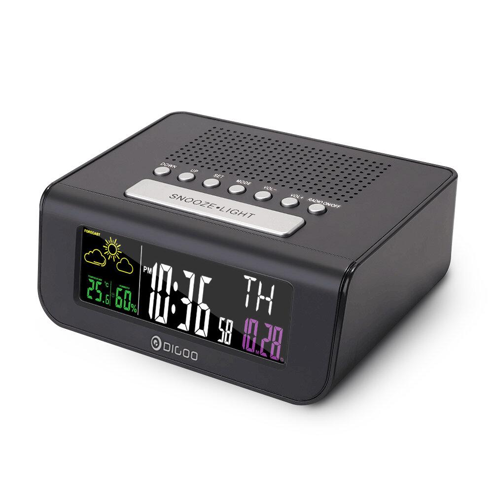 Digoo DG-FR100 Reloj de Alarma Digital inalámbrica SmartSet Pronóstico del Tiempo Dormir con Radio FM