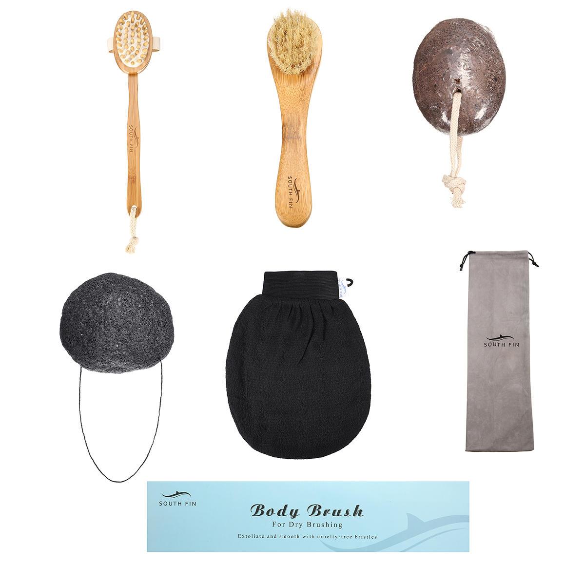 Luckyfine 7 IN 1 Body Clean Bath Brush Set Spa Body Exfoliating Face Wash Bath Sponge Cleaning Scrubber Massage Puff