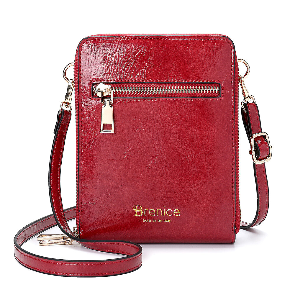Brenice Women Design Multifunction Phone Bag Oil Wax Leather Crossbody Bag