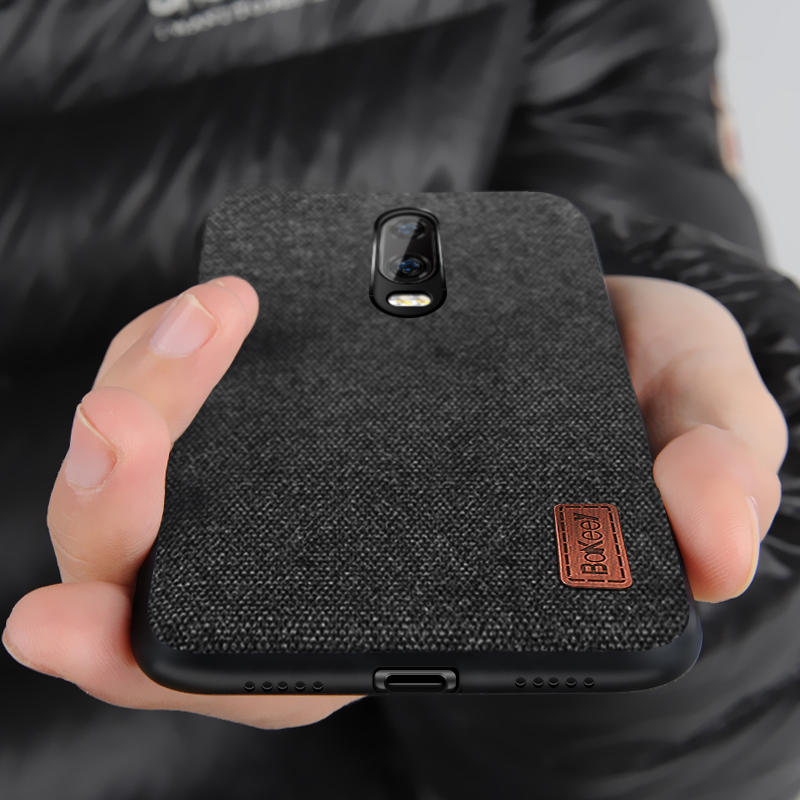 competitive price 86532 d00e4 Bakeey Luxury Fabric Splice Soft Silicone Edge Shockproof Protective Case  For OnePlus 6T
