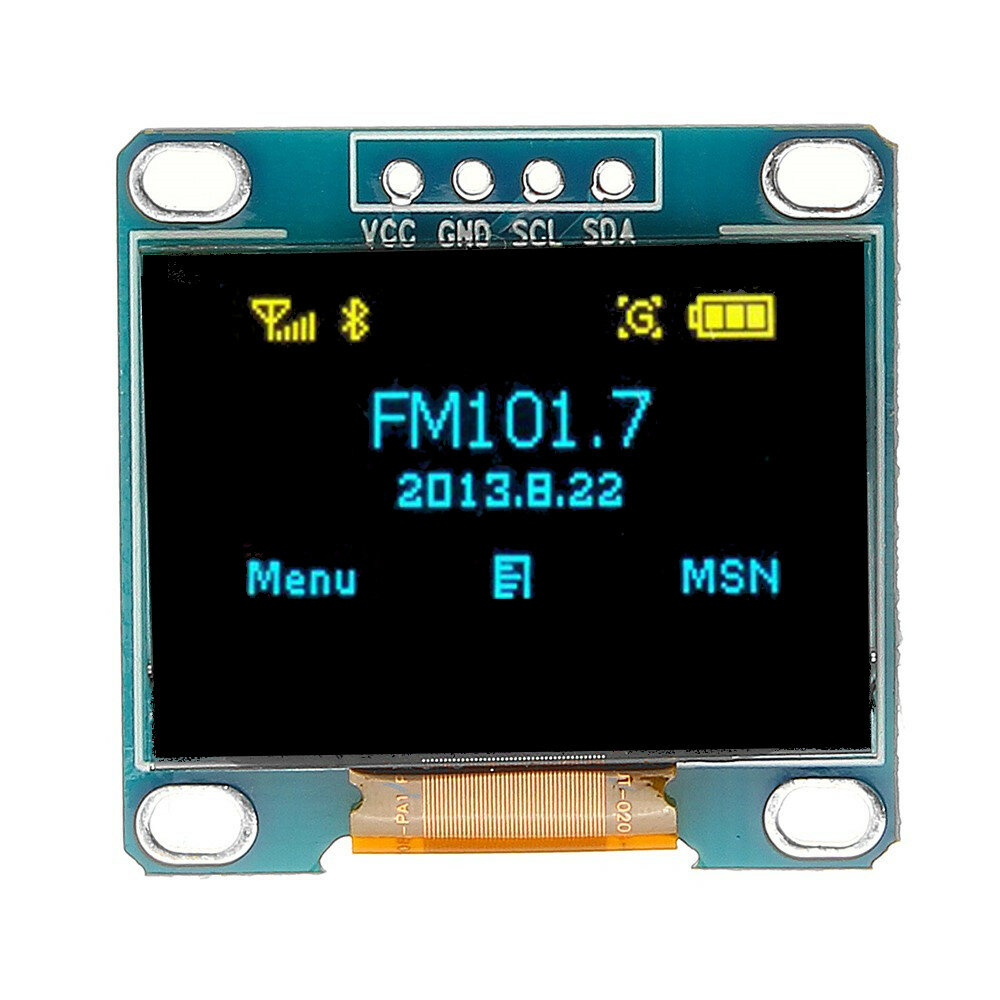 0.96 Inch 4Pin Blue Yellow IIC I2C OLED Display Module Geekcreit for Arduino - products that work with official Arduino boards