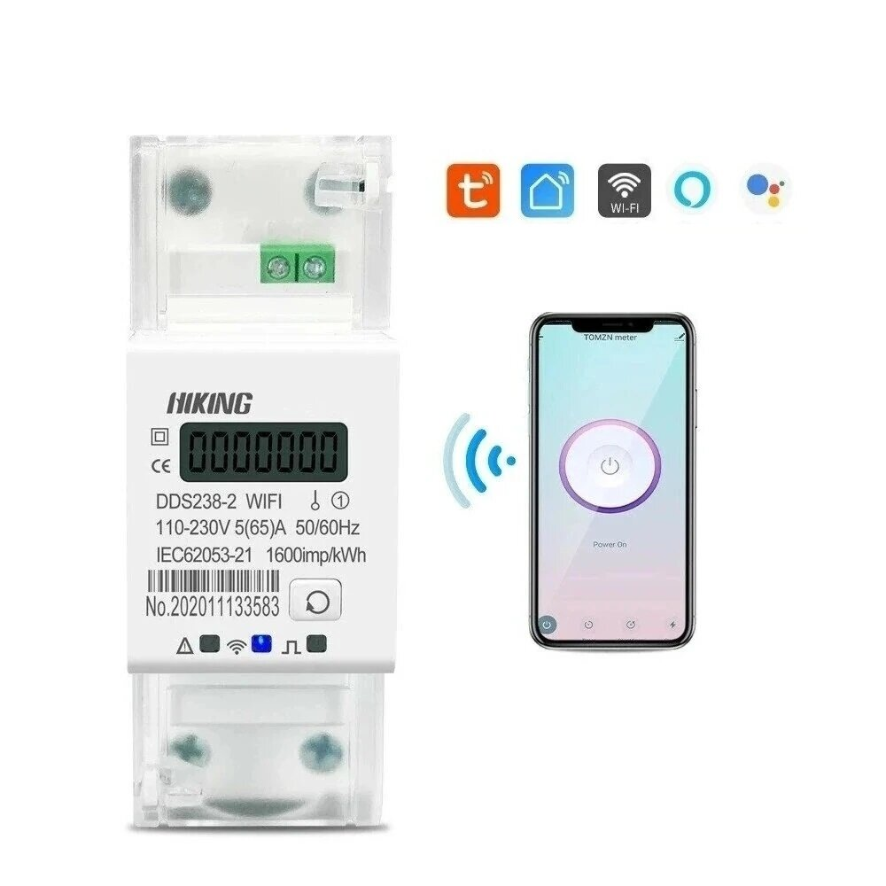 DDS238-2WIFI 90-300V 50/60Hz Tuya Single Phase 65A Din Rail WIFI Smart Energy Meter Timer Power Consumption Monitor kWh