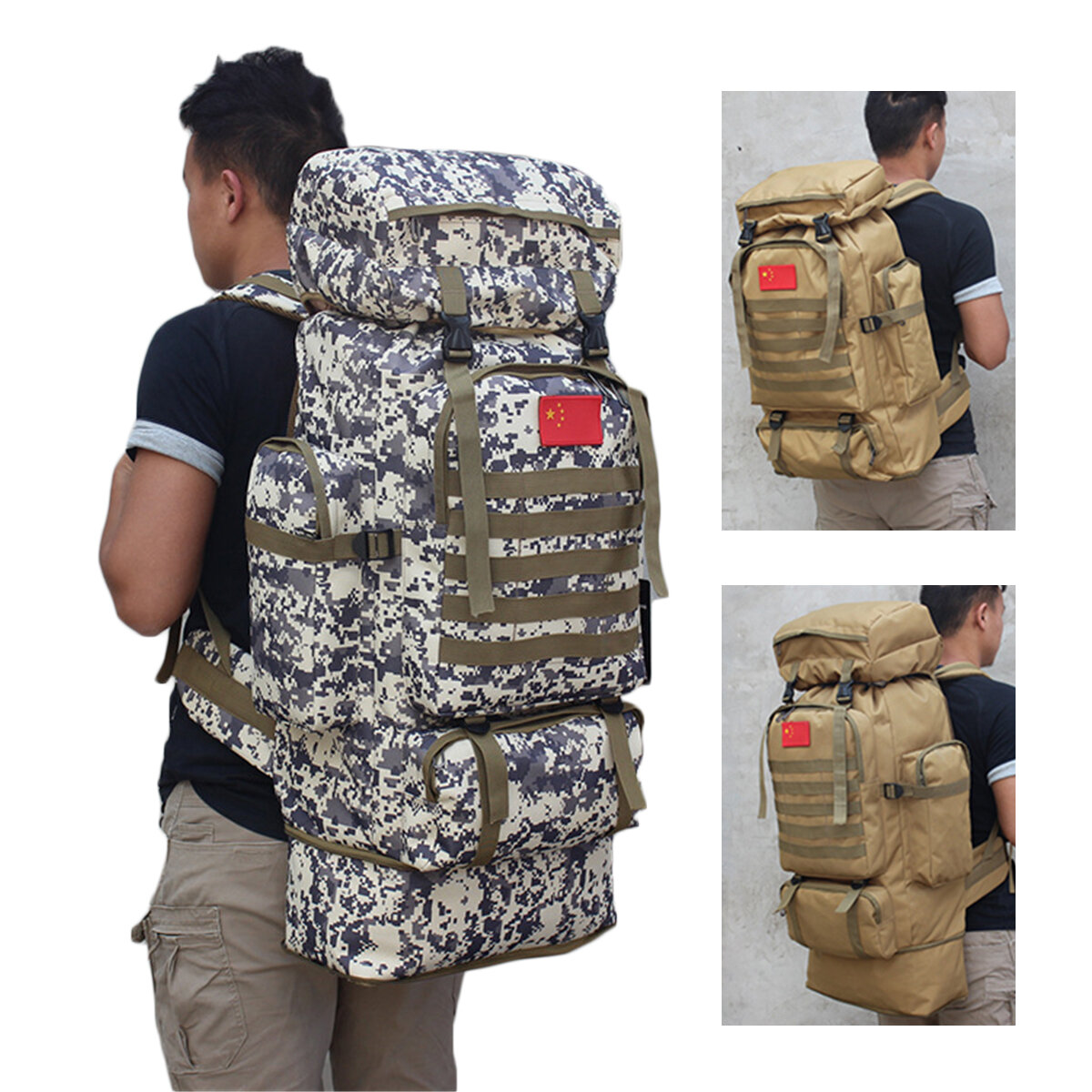 US 80L Waterproof Military Tactical Backpack Climbing Camping Outdoor Hiking Bag