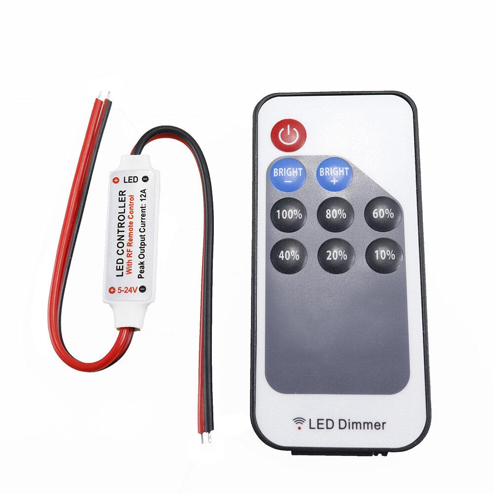 DC5-24V LED RF Controller Dimmer 9 Keys Wireless Remote Control for Single Color Strip Light